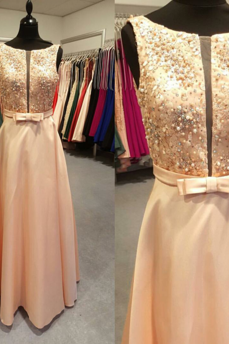 Coral Pink Evening Dress Top Beaded A-line V-neck Tank Floor Length Long Formal Gowns Women Party Dress With Bow Evening Dresses Long