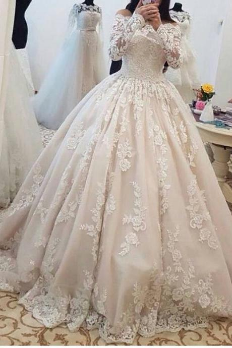 Romantic Lace Wedding Dresses with Long Sleeves Ball Gown Wedding Gowns Bridal Bride Dresses Off the Shoulder Wedding Dresses vestido de noiva