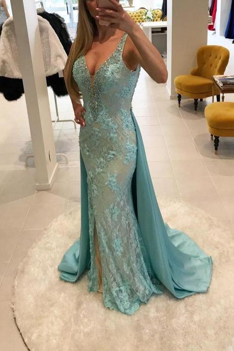 Sexy Lace Evening Dress Mermaid Beading V Neck Long Women Formal Gowns with Removable Train Elegant Side Slit Evening Party Dresses