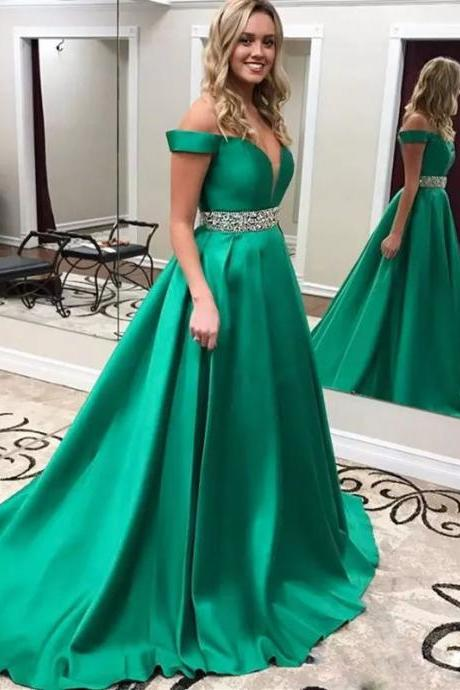 New Arrival Off-Shoulder Evening Dresses Handmade Deep V Neck Formal Gown Green Satin Long Prom Dresses Evening Gowns Wear