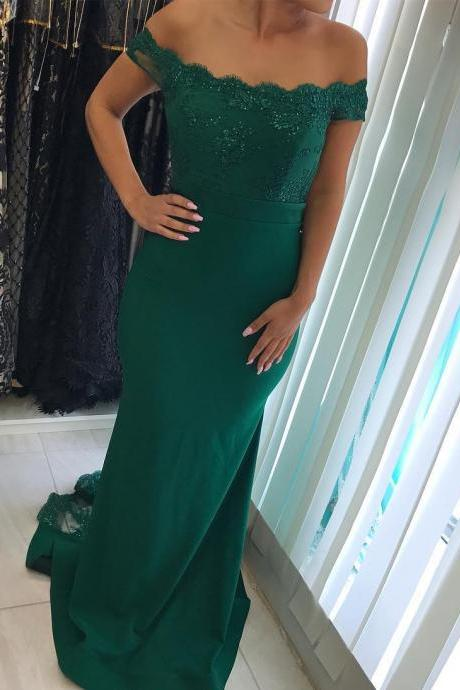 Dark Green Mermaid Long Bridesmaids Dresses Lace Appliques Wedding Party Gown Short Sleeve Prom Dresses Maid of Honor Gowns