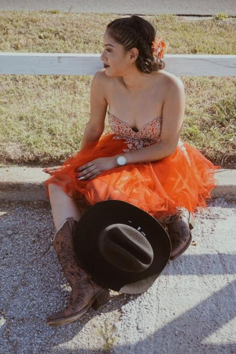 Orange Tulle Short Prom Dresses Lace Appliques Bodice Sweetheart Graduation Dress Mini Party Gowns Lace Up Back Prom Dress vestidos curtos