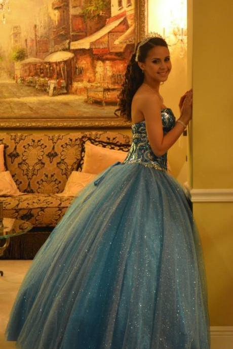 Sparkly Blue Quinceanera Dresses with Gold Crystals Sweetheart Party Ball Gown Glitter Tulle Sequins Sweet 15 16 17 Quinceanera Gowns Prom Dress