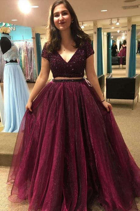Fashion 2 Pieces Prom Dress 2017 Beaded Organza Sexy V neck Formal Evening Gowns Dresses with Short Sleeves Rode De Soiree Longue Abendkleider 2017