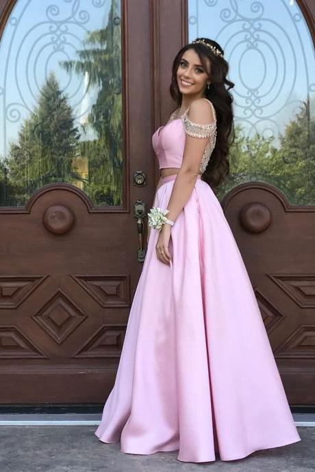 Sexy Pink Satin Prom Dresses Long A Line Short Sleeve 2 Piece Evening Formal Gowns Sheer Back Stunning Beading Party Dress Vestido De Vesta