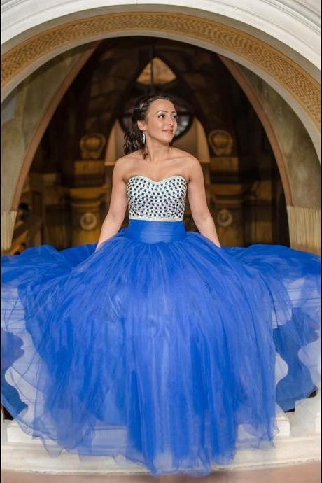 Royal Blue Ball Gown Prom Dresses Sweetheart Crystals Long Party Gowns Fashionable Puffy Prom Dress Evening Wear vestidos