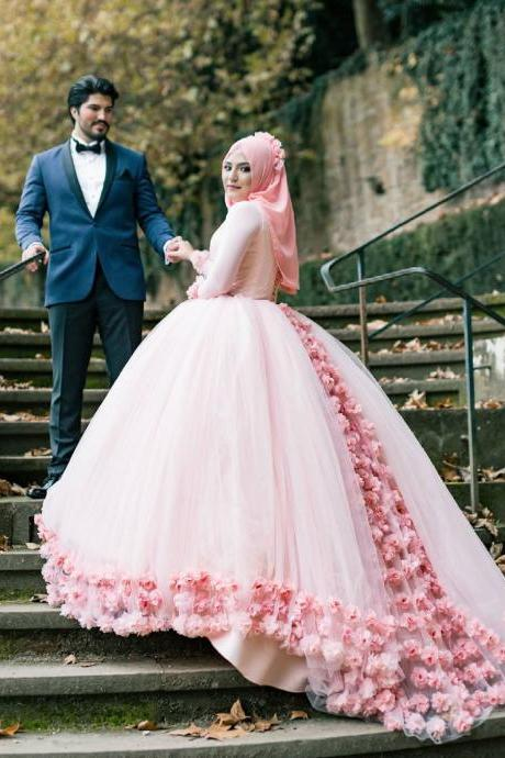 Muslim Pink Flowers Ball Gown Prom Dresses 2018 Long Sleeves Floor Length Lace Up Back Tulle Long Prom Dress Arabic Style High Quality