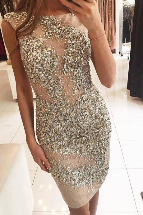 Heavily Beading Cocktail Dresses Stunning Rhinestones Sequins Illusion Tulle Sexy Mini Short Prom Gown Sparkly Luxury Party Dress