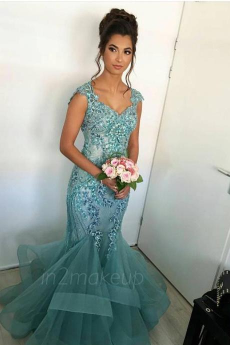 Elegant Evening Dress Robe De Soiree Lace Appliques Floor Length Formal Prom Party Dresses With Cap Sleeves Mermaid Formal Gowns