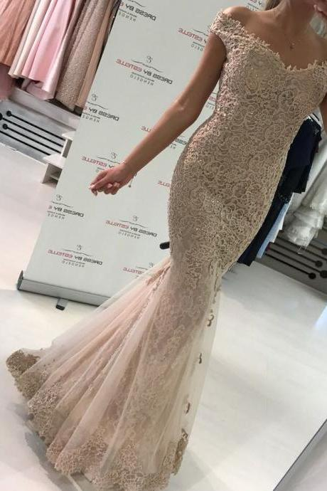 Top Quality Lace Mermaid Evening Dress Off Shoulder Elegant Formal Gowns with Short Sleeves Glitter Prom Dress Women Evening Wear