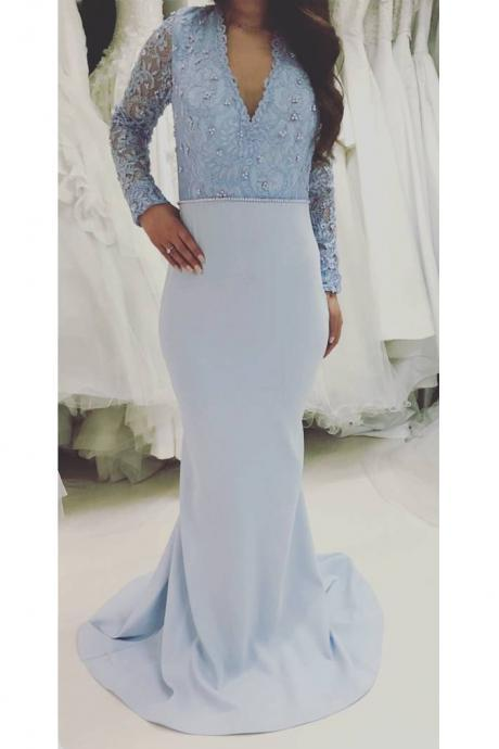 Custom Made Mermaid Evening Dress with Lace Long Sleeves Beads Light Blue Satin Women Formal Dresses Prom Gowns for Party vestidos