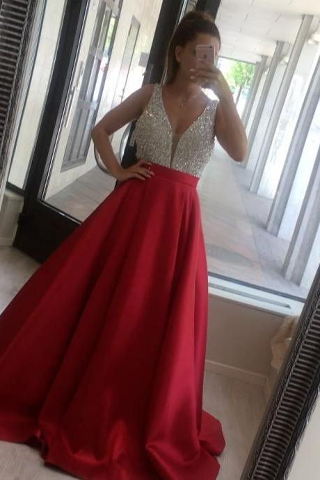 Open Back A Line Long Evening Dress Elegant Party Prom Gowns V Neckline Beaded Satin Formal Occasion Dresses Prom Party Gowns