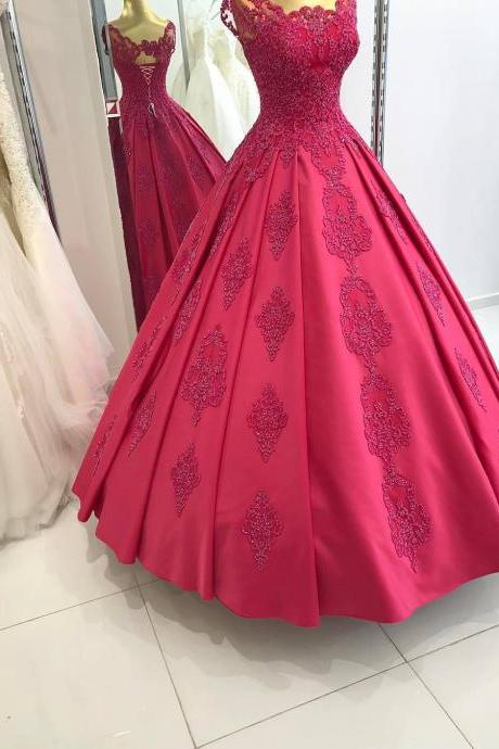 Sexy Prom Dresses Gowns Floor Length Scoop Collar Lace Appliques Ball Gown Satin Red Evening Dresses Arabic Lace Up Back Party Formal Gowns