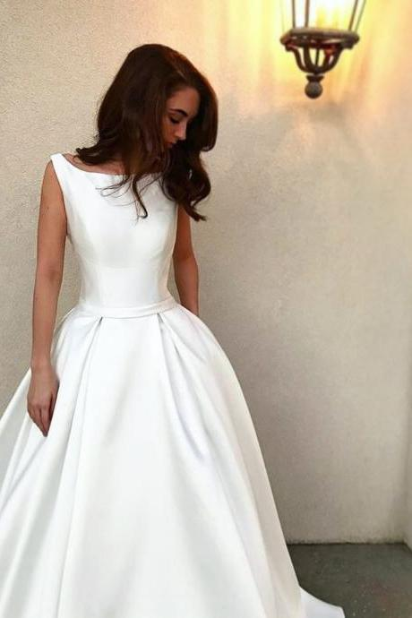 Amazing Wedding Dress Simple Satin Bridal Ball Gowns Sleeveless Zipper Back Wedding Dresses Cheap Price robe de soiree