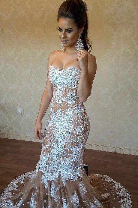 Luxury Pearls Sexy Mermaid Evening Dress Sheer Tulle Lace Appliques Hot Sweetheart Formal Gowns Long Back Party Prom Dress