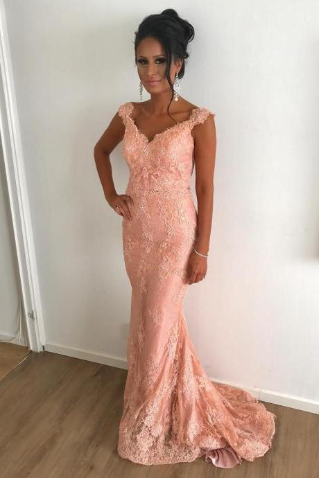 Fashion Coral Lace V-Neck Mermaid Evening Dresses Long Appliques Caftan Party Prom Gowns Formal Women Dress robe de soiree