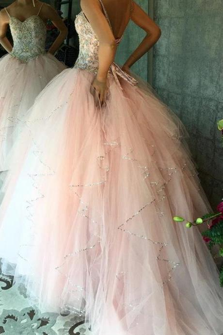 Quinceanera Dresses Vestidos de 15 anos Aqua Stunning Ball Gowns Spaghetti Straps Beaded Sweetheart Sweet 16 Dress for Party