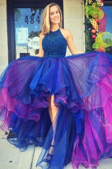 Hot Sale Beaded High Low Prom Dresses Long Homecoming Dress Sexy Backless Organza Party Colorful Skirt Formal Gowns Imported
