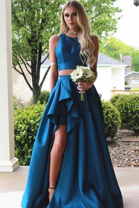Royal Blue Satin 2 Pieces Prom Dresses Pleats Skirt with Side Slit Sexy Sleeveless Party Gowns Elegant Evening Dress Long New Arrival