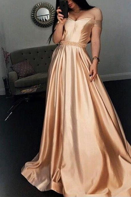 Off-Shoulder Satin Long Dress with Beaded Waistline