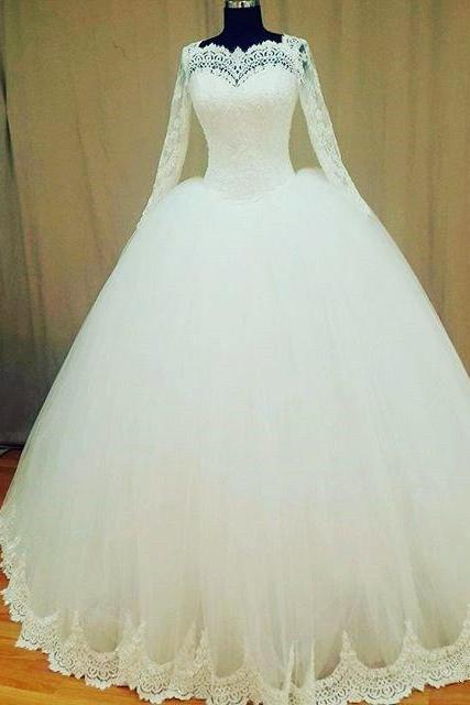Ballgown Silhouette Wedding Dress with Lace Long Sleeves and Sweetheart Neckline