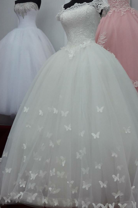 Butterfly Wedding Dress with Short Sleeves