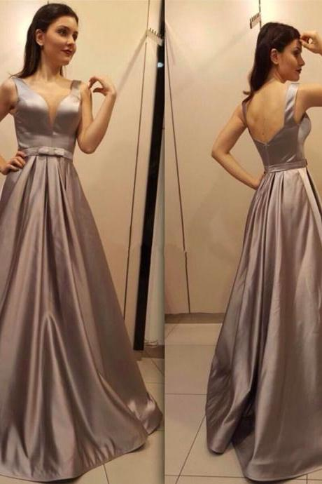 Satin V neck Backless Long Evening Dress with Bow