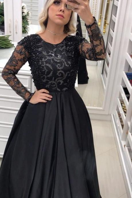 Sheer Back Black Evening Dress with Long Sleeves