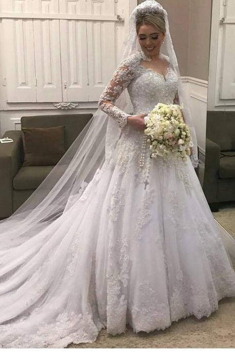 High Neck Lace Long Sleeves Wedding Dress ,Illusion Back Bridal Gown with Train