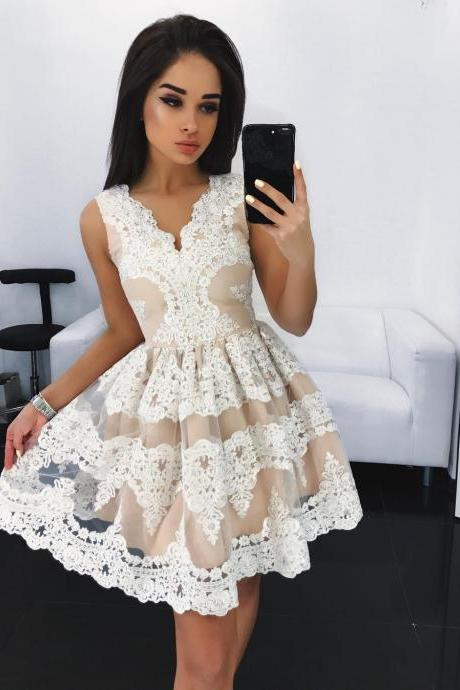 Short Lace Sleeveless Homecoming Party Dress
