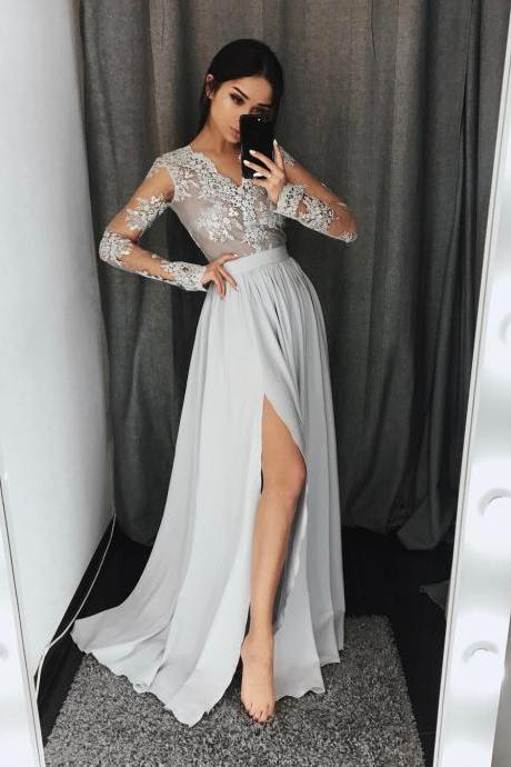 Long Sleeves Side-Slit Formal Evening Dress with V-Neckline