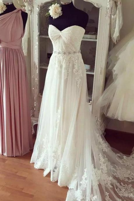 Beach Wedding Dress with Sparkly Belt ,A line Long Train Bridal Gown