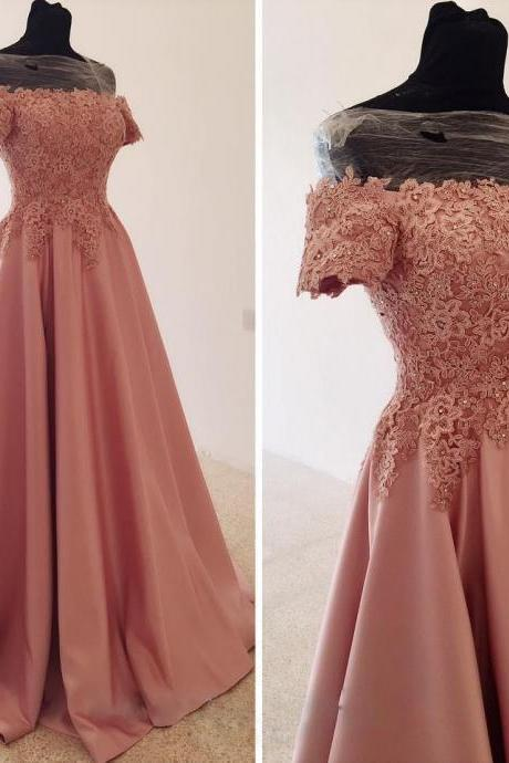 Off-the-Shoulder Satin Prom Dress with Beaded Lace