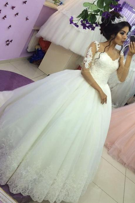 Vintage Appliqued Ball Gown Wedding Dress with Sheer Long Sleeves