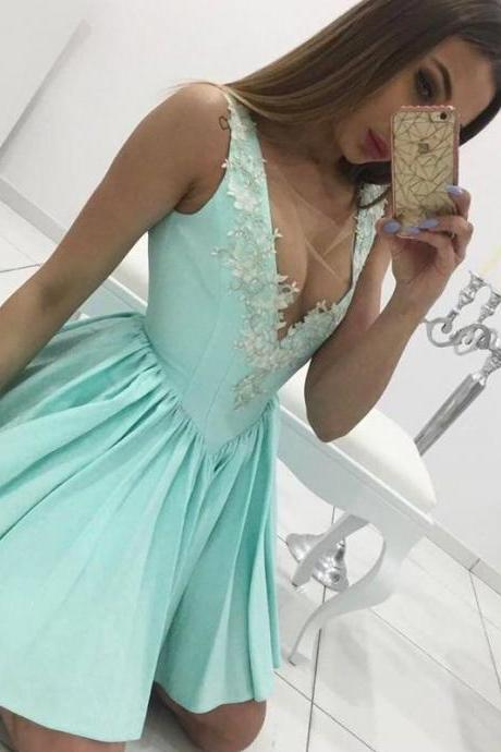 Illusion Deep V neck Mint Short Prom Dress with Appliques and Princess Waistline