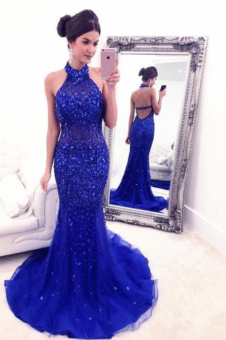 High Neck Mermaid Rhinestone Embellished Dress with Open Back in Dark Royal Blue