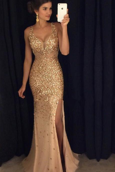 Long Illusion V-neck Sparkly Evening Dress with Crystals and Slit