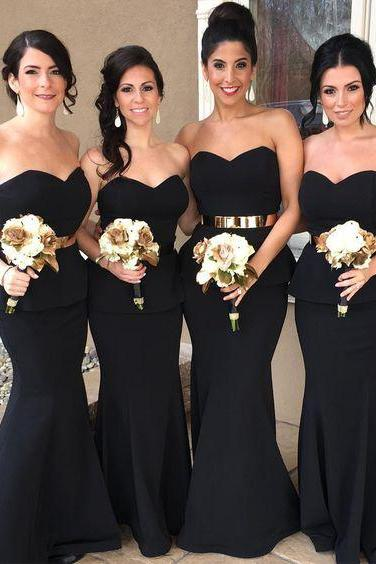 Black Bridesmaid Dress with Sweetheart Neckline and Peplum Skirt