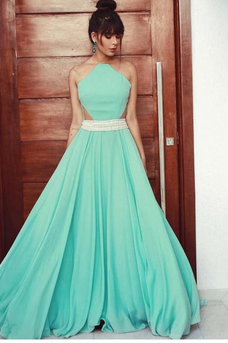 Long Mint Chiffon A line Evening Dress with Sheer Back