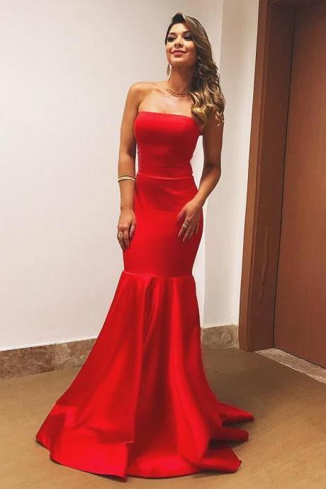 Long Red Satin Strapless Mermaid Evening Dress, Simple Prom Gown