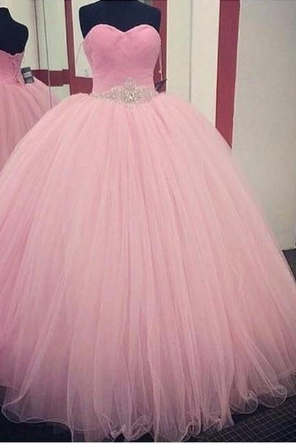 Pink Tulle Sweetheart Quinceanera Dress with Beaded Waist, Ball Gown Prom Dresses