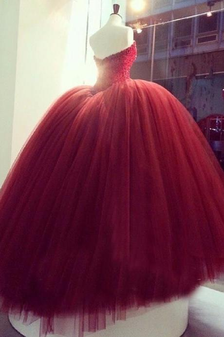 Beaded Corset-Back Sweetheart Quinceanera Dress in Red ,Princess Prom Gown