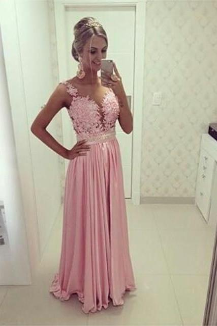 Pink Long A line Lace-Bodice Satin Evening Dress with Beads