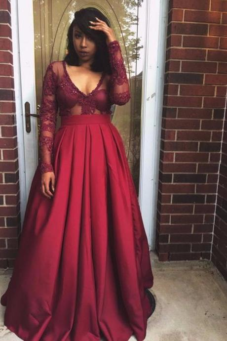 Sheer Bodice Burgundy Satin Evening Dress with Long Sleeves and Deep V-neck ,Box Pleats African Prom Gown