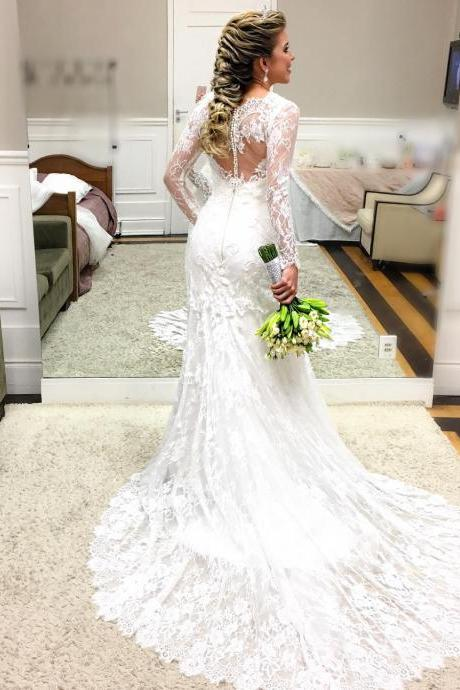 Romantic Lace Mermaid Wedding Dress with Sheer Long Sleeves