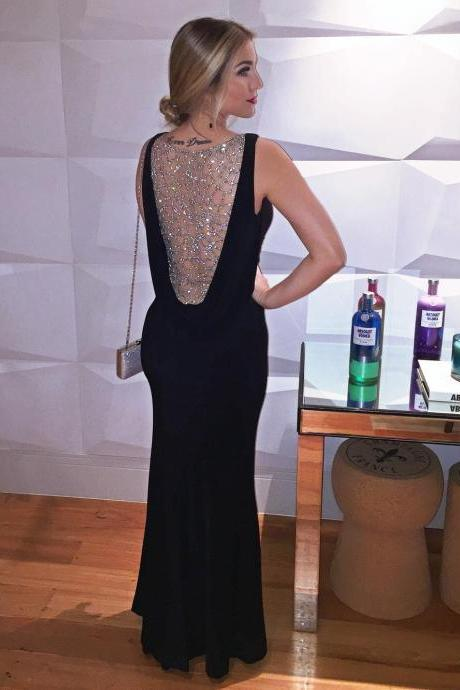 Long Slim Mermaid V neck Evening Dress with Beaded-Illusion Back, Prom Gown