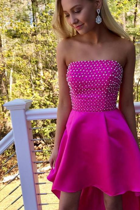 Strapless High Low Prom Dress, Pearls Beaded Long Satin Party Gown
