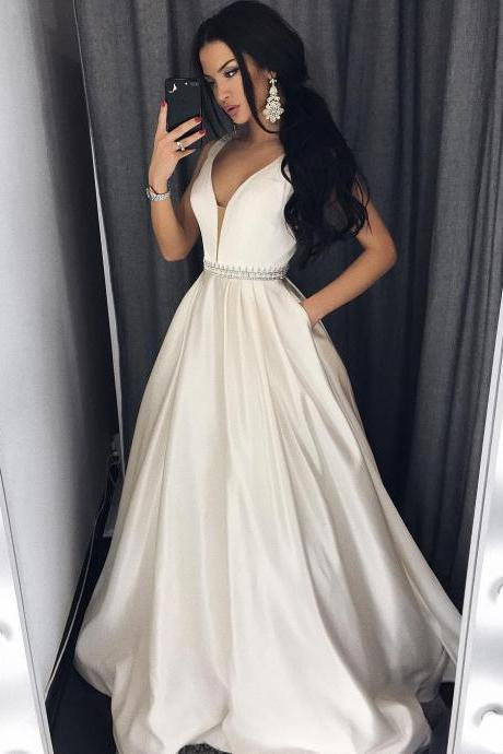 Long Deep V neck Satin Evening Dress with Beaded Waist and Pockets