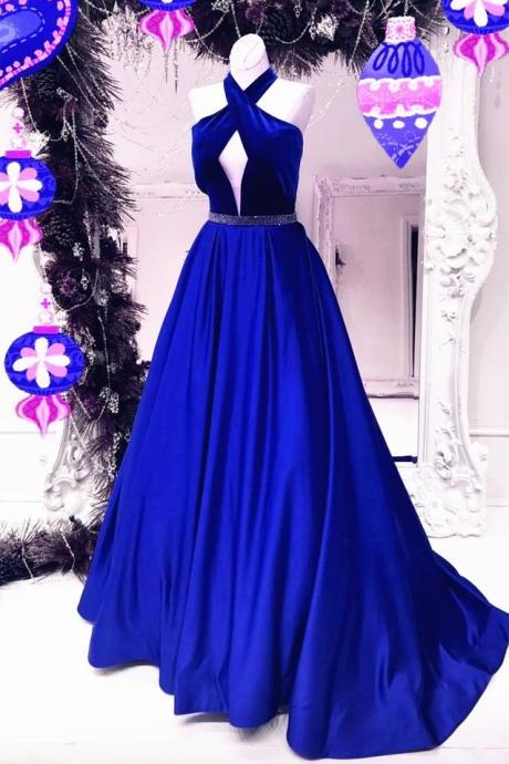 Halter Velvet Top Long Satin Ball Gowns Evening Dresses