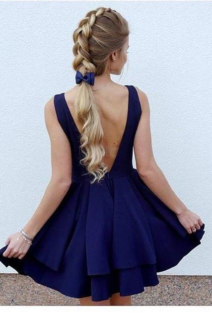 Cute Backless Ruffles Homecoming Dress Short Mini Prom Dresses Ball Gowns